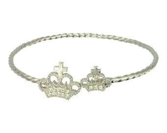 Crystal Crown Bracelet (Modern Fashion Royalty Tiara Bangle Silver Plated Statement Jewelry RSB1102-S)