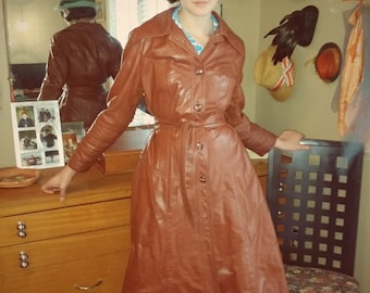 70's Brown Leather Coat