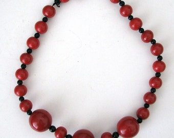"Vintage Large Red Beaded 10"" Choker Necklace with Silver Clasp"
