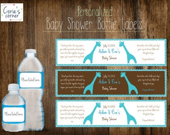 Turquoise and Brown Giraffe Baby Boy Personalized Baby Shower Water Bottle Label