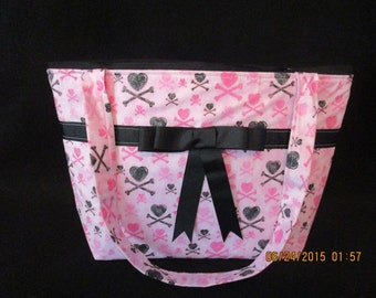 Pink and Black Cross bones Purse
