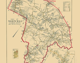NORWELL Town & Village 1903 Map Colored Reproduction
