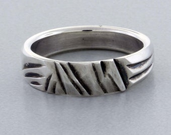 "Sterling Silver Ring, Hand ""Carved"" Band - 9"