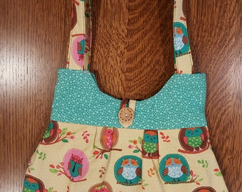 OWLS/Adorable Hand-made, One-of-a-kind purse with owl print