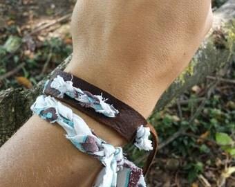 Rustic, tattered, upcycled, leather  bracelet set!