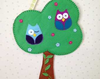 Owl's In a Tree - Wall Hanging