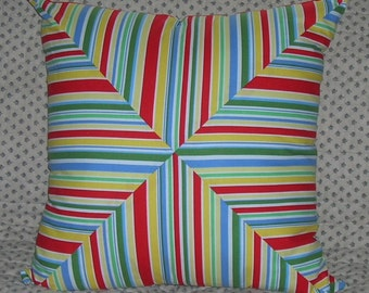 Primary Colors Diagonal & Stipes Pillow