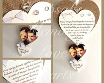 Vintage wedding gift for couple personalised wooden keespake Heart