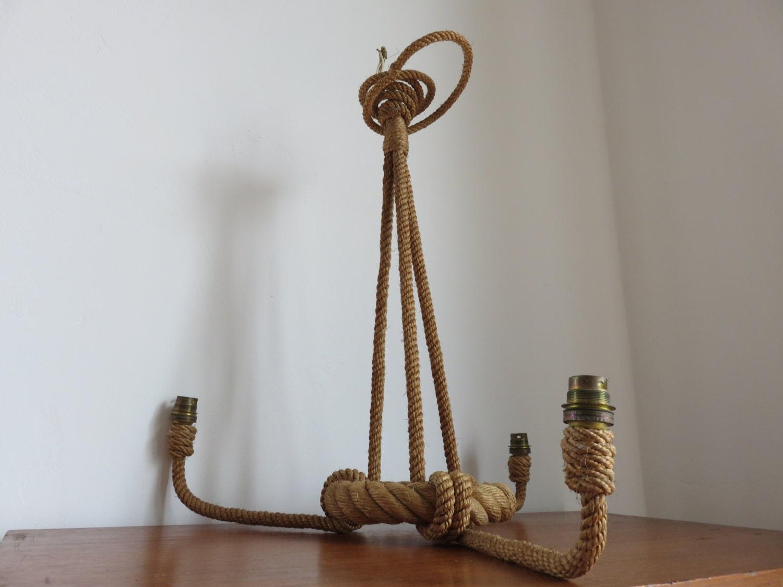 lampe lustre suspension audoux minet corde tress e ann es 50. Black Bedroom Furniture Sets. Home Design Ideas