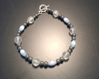 Grey and Blue Beaded Bracelet