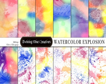 Rainbow Watercolor Digital Papers, Digital Watercolor Paper, Watercolor Splatter Paper, Commercial Use, Bright Watercolors, Messy Watercolor