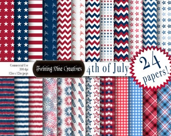 4th of July Digital Paper, Independence Day Paper, Commercial Use, Patriotic Paper, Memorial Day Paper, Red White and Blue Paper, Fireworks