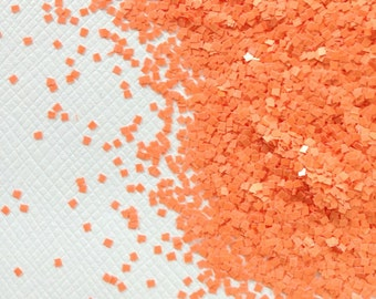 Squares - Orange Squares .040 solvent resistant matte glitter squares for suspension base, nail polish, nail art, gel, acrylic, crafts.