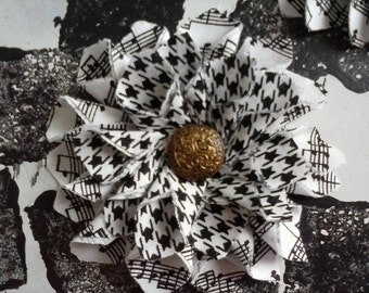 Houndstooth and Music Note flower with vintage button center
