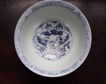 Blue and white porcelain bowl with beautiful pattern(Rare)