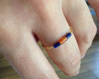 Ring chain gold filled, Carnelian and lapis lazuli beads