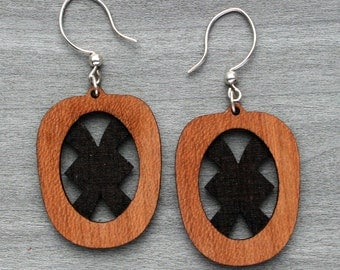 Engraved wood veneer earring