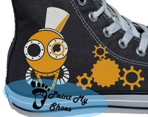 Steampunk Converse, Hand Painted Shoes, Custom Art Steampunk Shoes, Custom Converse, Birthday Gifts, Free US Shipping