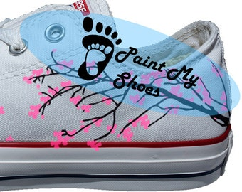Cherry blossom, converse, hand painted shoes, free shipping in the US