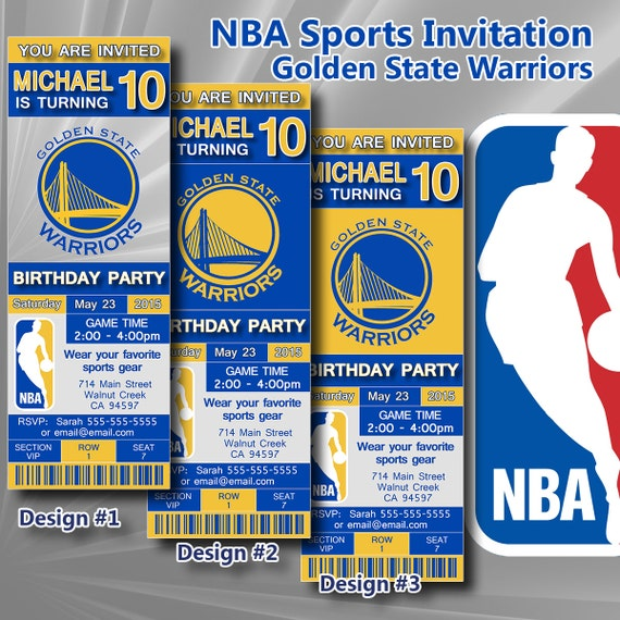 Golden State Warriors NBA Birthday Invitation by DigiSport ...