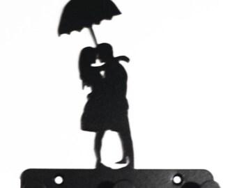 Couple Under Umbrella Silhouette Key Hook Rack - metal wall art romantic
