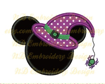 Halloween witch Mickey mouse embroidery applique design, Disney  Mickey face,  ms-026