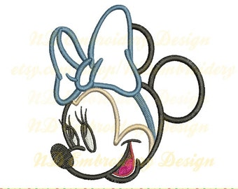Minnie mouse applique design, girly face Machine Embroidery Design, bow tie, ms-092