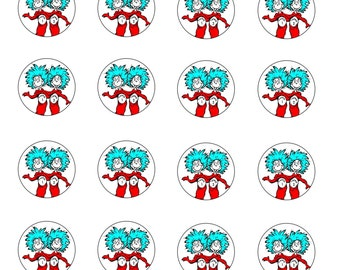 24x edible cupcake cake toppers Dr Suess, cat in the hat, thing1 & thing2, twins