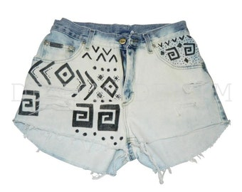 High Waisted Jean Shorts Low Rise Levis denim shorts Hipster Custom Vintage Cutoff Tribal Print Shorts Bleached Denim Shorts Cut Off Fray