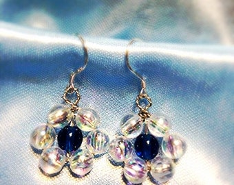 Midnight Blue Daisy Earrings ** Handcrafted ** Midnight Blue ** Crystal ** Flower Power ** Twisted  **