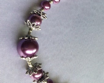 Rose Pink Glass Pearl Necklace