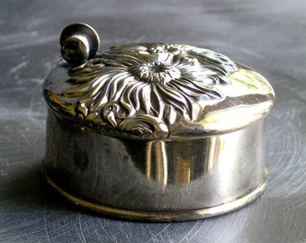 Antique Superior silver plate stud button box with sunflowers