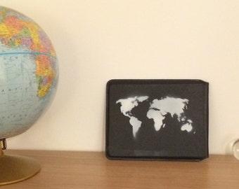 Black Leather World Map iPad Case