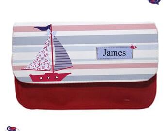 Personalised pencil case, ship ahoy let's go sailing, Boys pencil case, School pencil holder