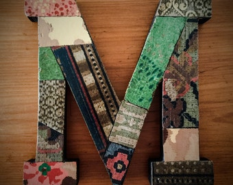 Vintage lino patchworked letters