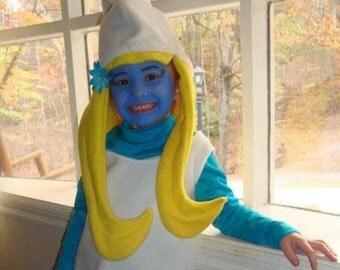 Girls Size Full Smurfette Halloween Costume Set Hat/Hair/Dress Custom Made KIDS
