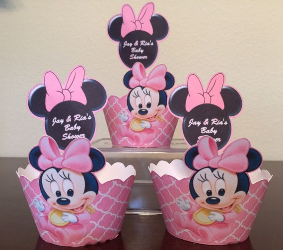 Personalized Baby Minnie Mouse Cupcake Wrapper and Topper