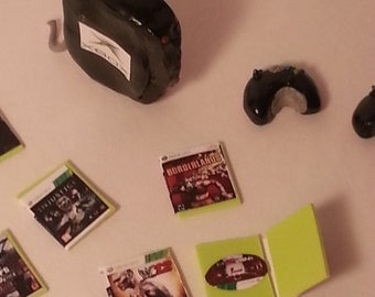 Xbox Miniature with two controllers and video games