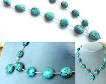 Rare Pebble NATURAL TURQUOISE & 925 Sterling Silver 17 Inch NECKLACE 1533