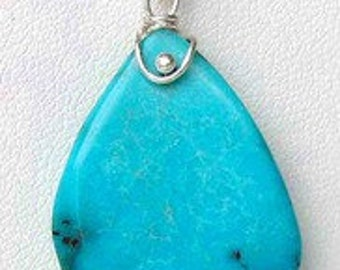 FAB! Natrual TURQUOISE & Sterling Silver Drop PENDANT! 7085C