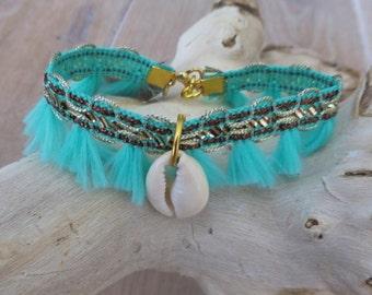 aqua bracelet, ibiza bracelet, tassel bracelet, shell bracelet, beach jewelry