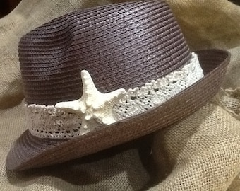Black, Brown or Natural Straw Hat with Sea Star