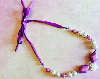 Pearls and purple princess tie necklace