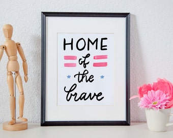Home of the Brave - Military Watercolor Typography Printable Poster