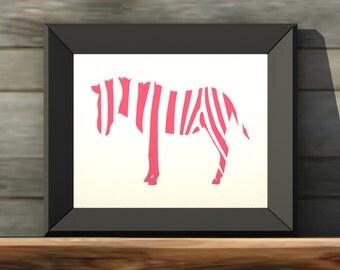 Zebra PINK 24x36 Printable Wall Art