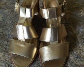 Womens Leather from Brazil Gold Shoes Gold Sandals Open Toe Shoes Chunky Heel Shoes 70s Shoes Size 10 M