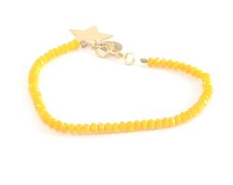 Beaded bracelet, Mustard Colored Crystal, Star Pendant, Yellow bracelet