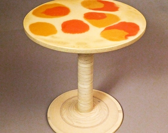 Eco-Friendly Round Side Table made of Terrazzo and Reclaimed Maple Wood
