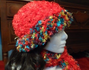 Red and Rainbow Winter Crochet Scarf and Beanie Hat Set
