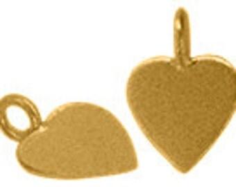 Handmade vermeil heart charm pendant with ring - 1 pc.